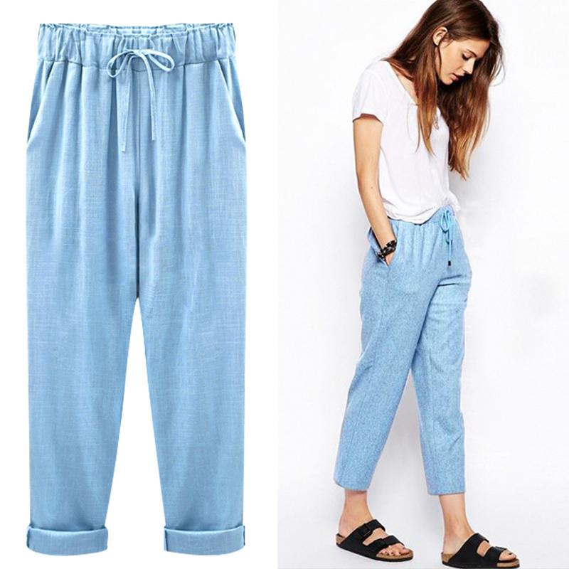 2018 Linen   Pant   Casual Womens Cotton Linen Elastic Waist Trousers Summer   Wide     Leg     Pants   For Women Large Plus Size Harem   Pants
