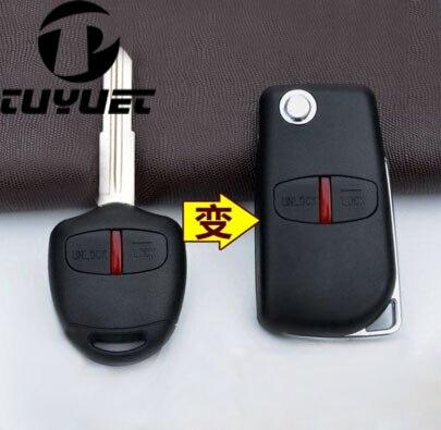 2 botones llave de coche blanco caso para Mitsubishi Pajero modificados plegable Shell remoto clave cuchilla izquierda