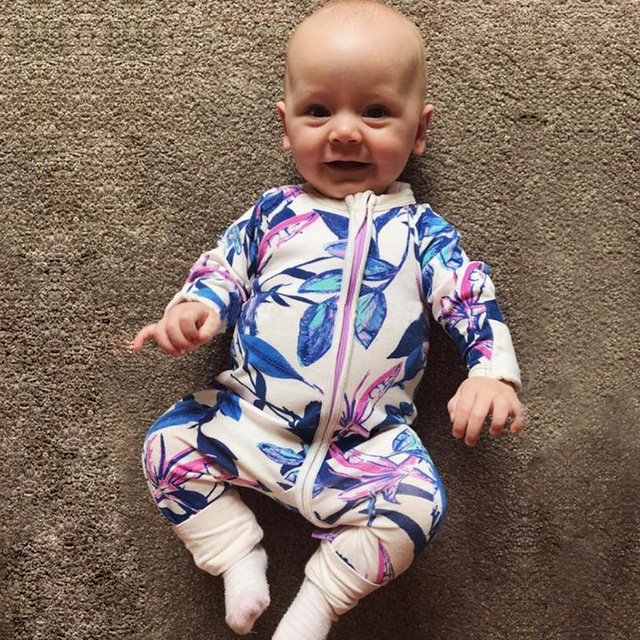 2017 New Zipper Cotton Footed Newborn Baby Girls Boys Clothes Baby Floral  Jumpsuit Onesie Infant Pajama 993346254