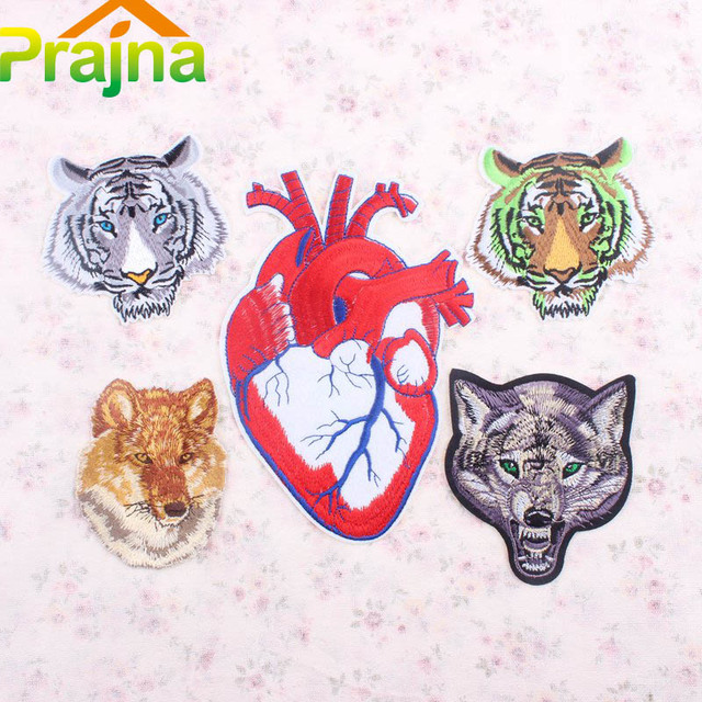 Prajna Anatomical Heart Patch Bike Dog Tiger Wolf Patch Stranger Things  Iron On Embroidered Motorcycle Patches