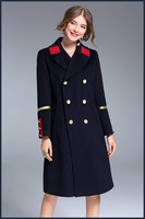 European style tailored collar double-breasted woollen coats New 2017 Fall/winter woman's chic surcoat Fashion Military coat
