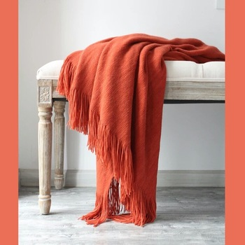 American Style Summer Knitted Throw Blankets for Beds Tassels Knit Bed Runner Nap Sofa Cover Blanket Solid Plaids mantas de cama