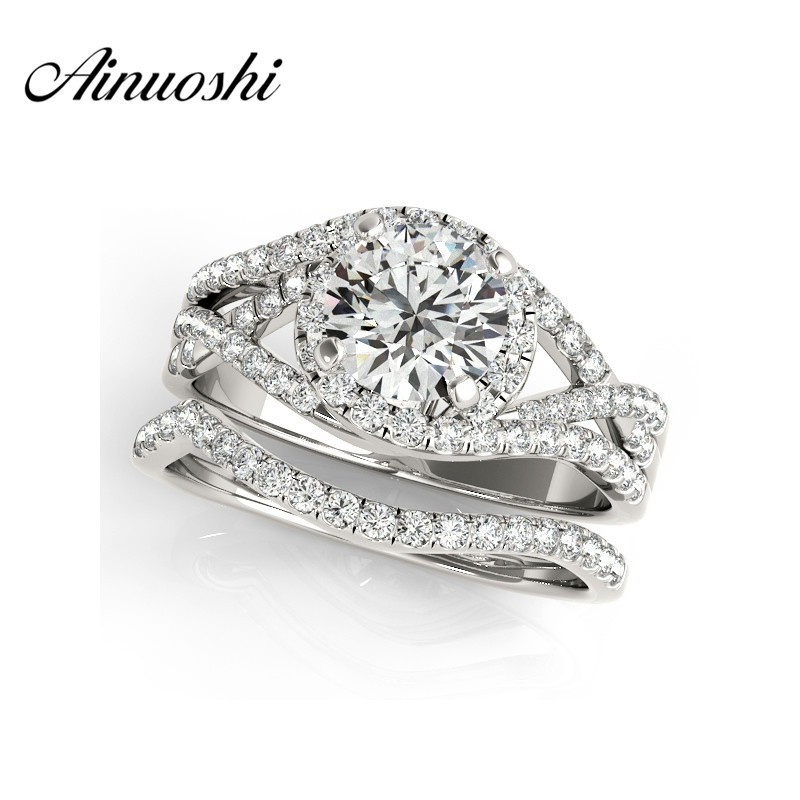 AINUOSHI 925 Sterling Silver White Gold Color Engagement Bridal Ring Sets 1ct Round Cut Women Wedding Anniversary Halo Ring Set цена 2017