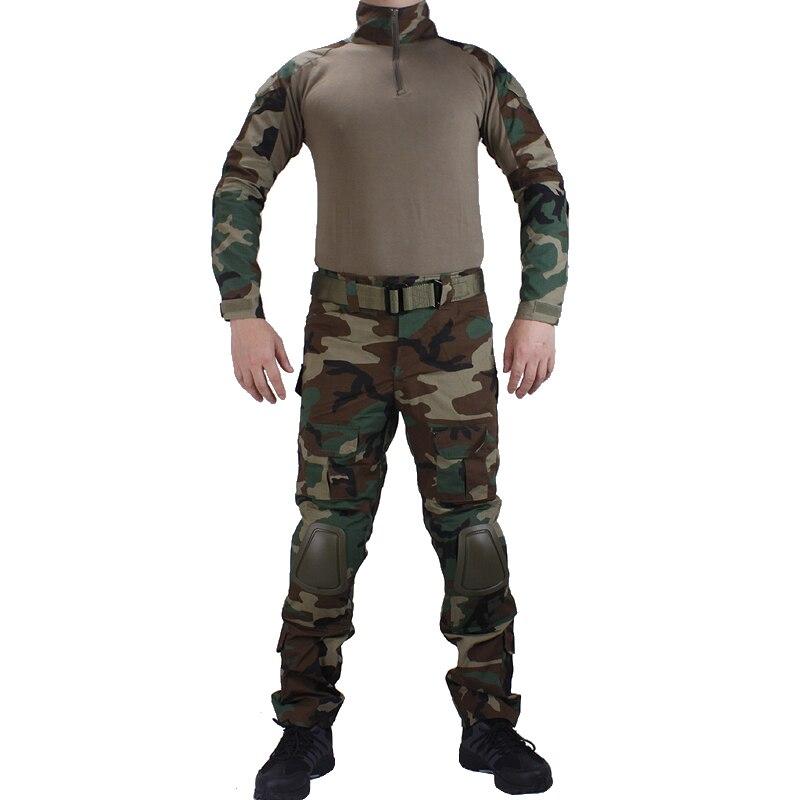 Камуфляж леса BDU боевые униформы рубашка с broek и Налокотники и наколенники военный игры Косплей форма ghilliekostuum