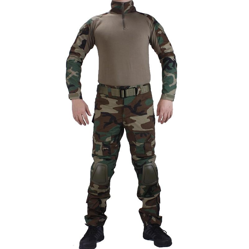 Camouflage EDR Woodland Combat uniformes chemise avec broek et coude et genouillères militaire jeu cosplay uniforme ghilliekostuum