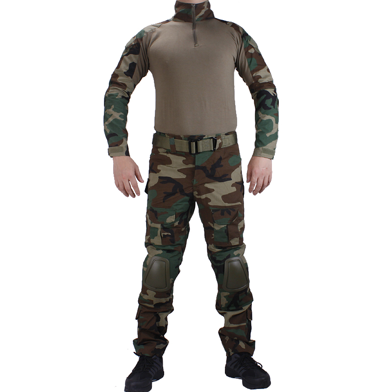 Camouflage BDU Woodland Combat uniforms shirt with broek and elbow & knee pads militaire game cosplay uniform ghilliekostuum-in Hunting Ghillie Suits from Sports & Entertainment    1