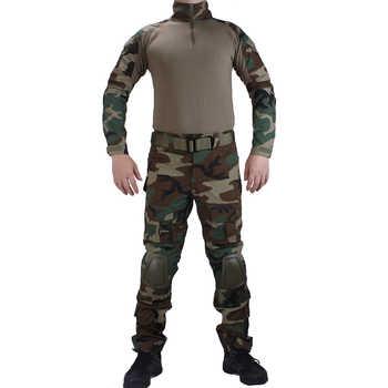 Camouflage BDU bois uniformes de Combat chemise avec broek et coude et genouillères militaire jeu cosplay uniforme ghilliekostuum