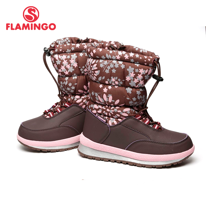 FLAMINGO Waterproof Wool Keep Warm Winter High Quality Shoes Anti-slip Size 29-34 Children Snow Boots for Girl 72M-YC-0433 gsou snow brand winter ski suit men ski jacket pants waterproof snowboard sets outdoor skiing snowboarding snow suit sport coat