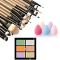 Colorful Professional Face Concealer Cream Foundation Powder Blush Makeup Palette+ 20Pcs Makeup Brush Set + Cosmetic Sponge Puff
