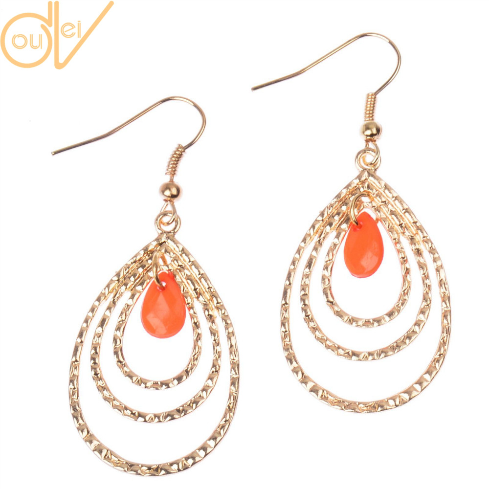 DouVei Jewelry Factory Outlets store 5 Colors Golden Multi-layers Wire Made Water Drop Shaped Elegant Fashion Women Earrings Party Women Earrings E090