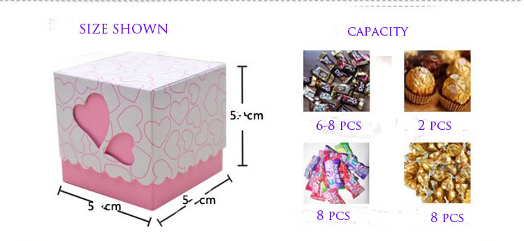 Newest Pink Double Heart Wedding Candy Box Wedding Party Favors And Gifts Boxes with Ribbon Free Shipping