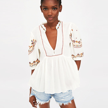 White blouse cotton embroidery
