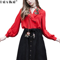 Vintage Autumn Red Female T Shirt Embroidery Full Sleeve Women Tops Chiffon Sexy DeepV Neck Shirt