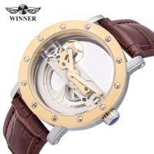 2017 WINNER Fashion Men's Golden Bridge Skeleton Auto Mechanical Watch Brown Leather Golden Bezel Top Brand Design Best GIft