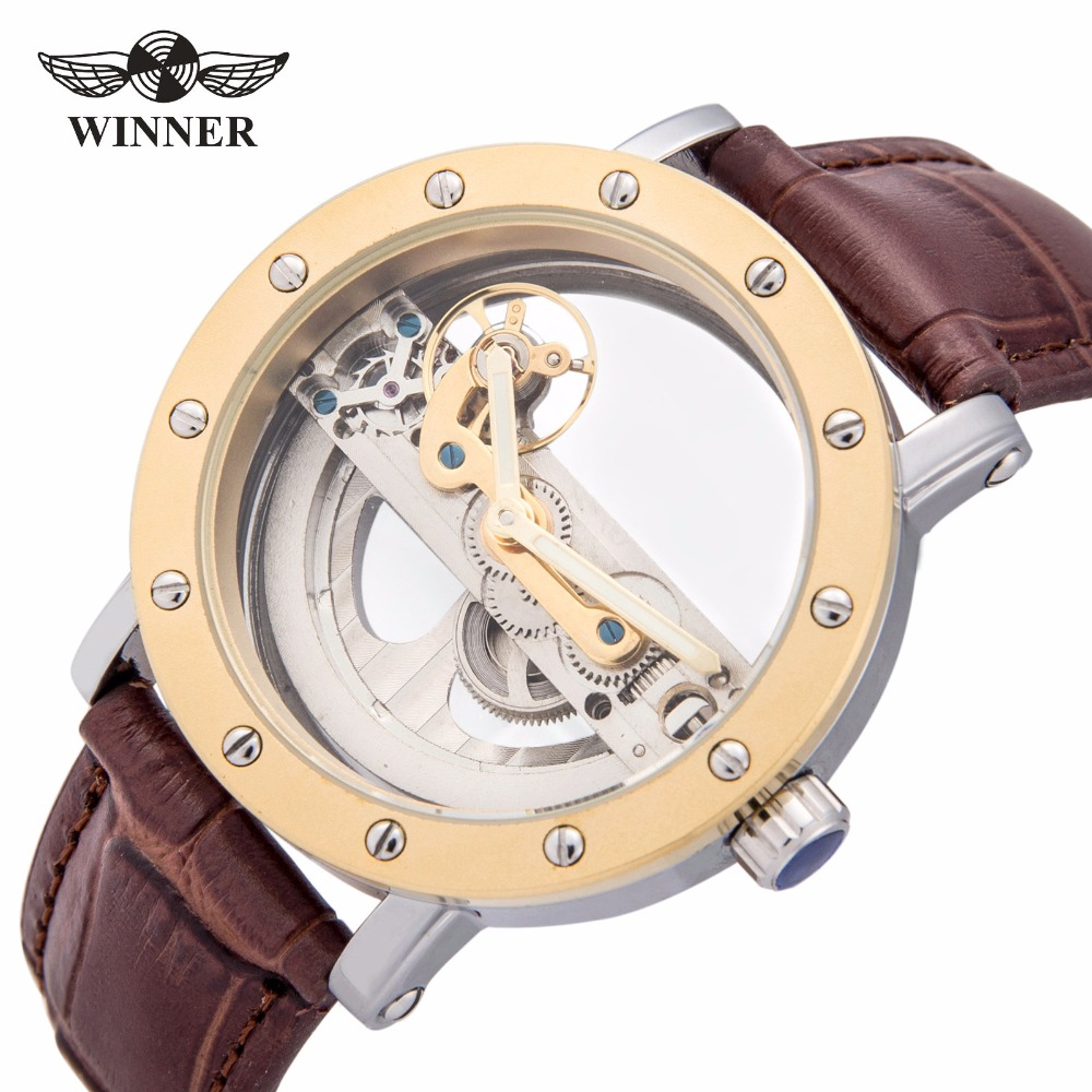 2018 WINNER Fashion Men's Golden Bridge Skeleton Auto Mechanical Watch Brown Leather Golden Bezel Top Brand Design Best GIft 4pcs thicker 2 2 inch rc 1 10 crawler alloy wheels rim beadlock wheel rims hub for 1 10 rc scx10 wraith 90018 rock crawler