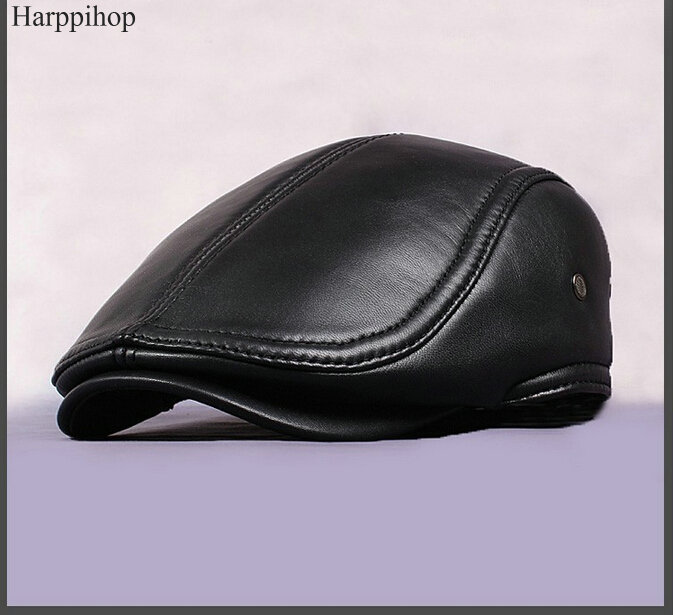 2017 Free shipping sheepskin caps New Design Mens 100% Genuine Leather Cap /Newsboy /Beret /Cabbie Hat/ Golf Hat father gift