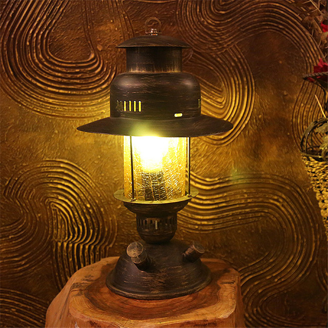 American Retro Living Room Iron Art Edison Table LightsCreative Countryside Antique Bedside Lamps