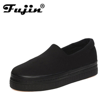 Fujin brand breathable flats women shoes 2017 Summer Solid Canvas Platform Shoes Red Black Women Shoes