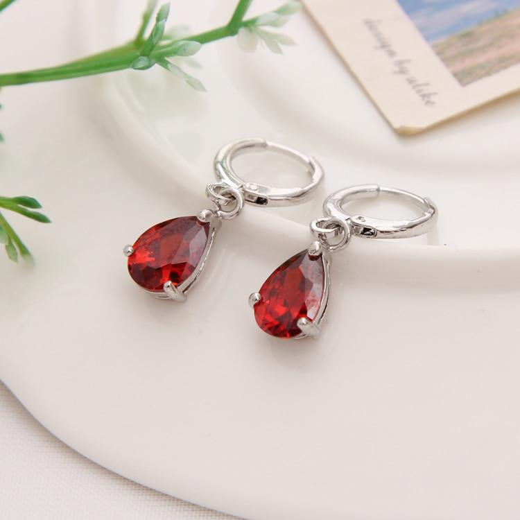 Gold Color Earrings Green Water Drop CZ Stone Pierced Dangle Earrings Women/Girls Long Drop Earrings fashion jewelry 20
