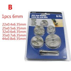 Image 3 - 6 pz/set HSS Mini Circolare Seghe Lama Dischi di Taglio Del Legno Trapano Per Utensili Rotativi Dremel Fresa In Metallo Strumento di Potere Mandrino set