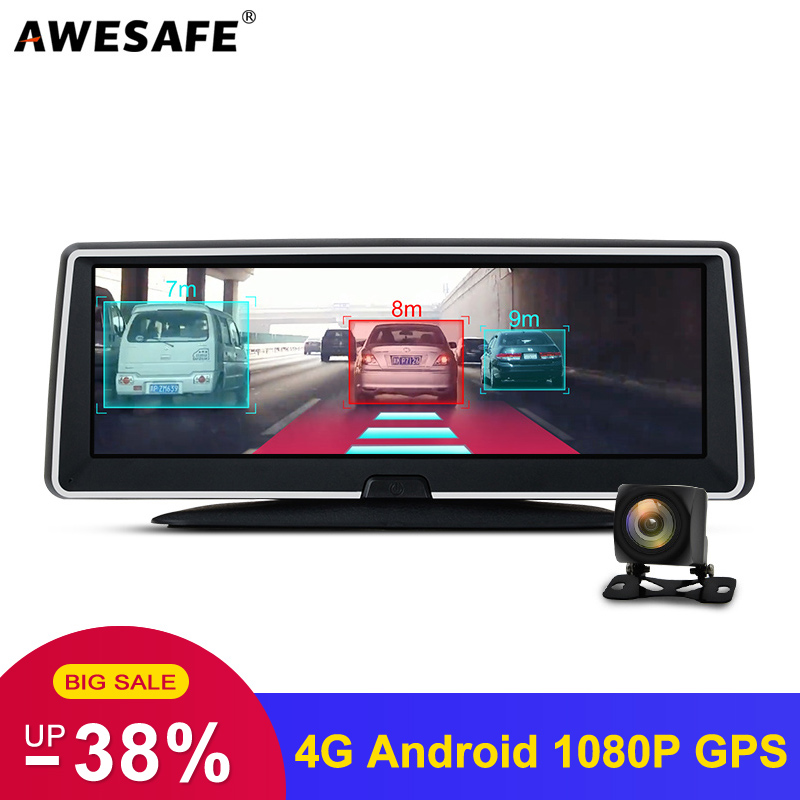AWESAFE 4G Car DVRs ADAS Android Dash Cam Camera With GPS Navigation Full HD 1080P Dual