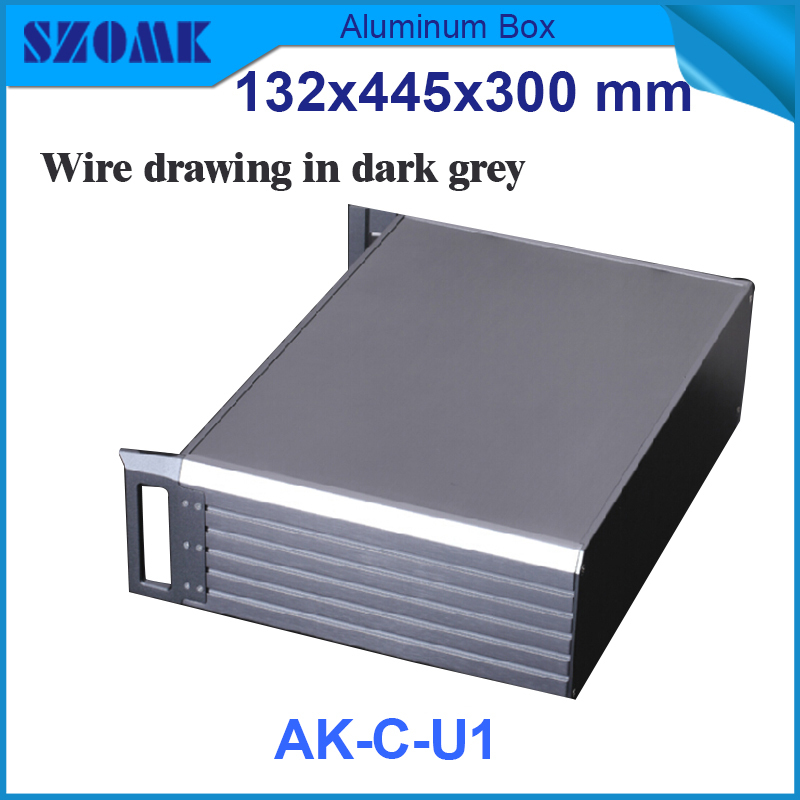 1 piece Black and Dark grey color electrical juction  aluminum box for extruded aluminum rack enclosures 395X271X129.5mm aquapulse 4122b grey black