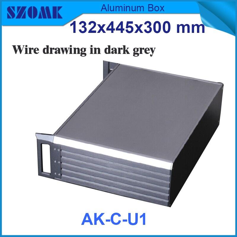 1 Unidad De Caja De Aluminio De Impresión Eléctrica De Color Negro Y Gris Oscuro Para Carcasas De Aluminio Extruido 395X271 X 129,5mm
