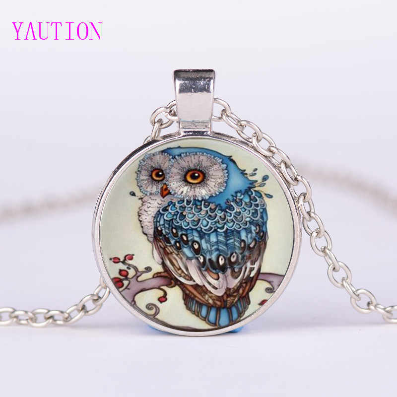New Sweater Round Pendant Necklace for Woman Vintage Large Glass Owl pendant necklace Fashion Jewelry Gift Wholesale