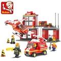 0225 Sluban Городской Пожарной Станции Строительные Блоки Устанавливает хобби DIY Модель Игрушки Кирпичи Совместимость с Ног Пожарный blockset