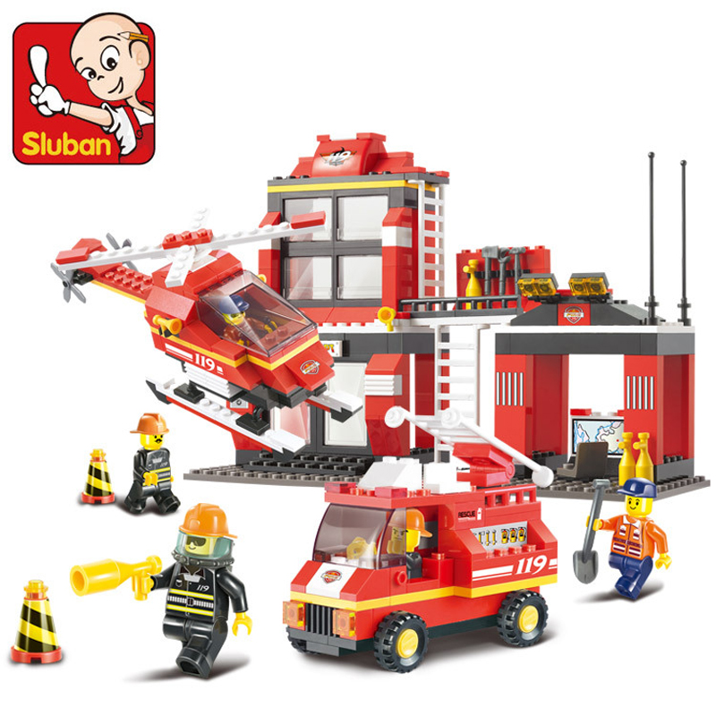 0225 Sluban City Fire Station Building Blocks Sets hobby DIY Model Toys Bricks Compatible with Lego Firefighter blockset