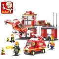 0225 conjuntos de blocos de construção sluban city fire station hobby diy modelo brinquedos bricks compatível com a perna blockset bombeiro