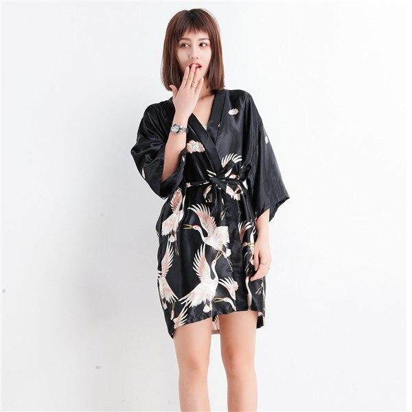 b6c319ee979c Delle Donne del fiore Sexy Corto In Raso Kimono Dell abito Da Notte Cinese  Degli