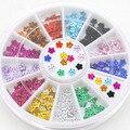 Popular 200 unids 12 colores cristal Glitter Rhinestone Flower Nail Art Salon manicura rueda pernos prisioneros DIY decoraciones 67J8