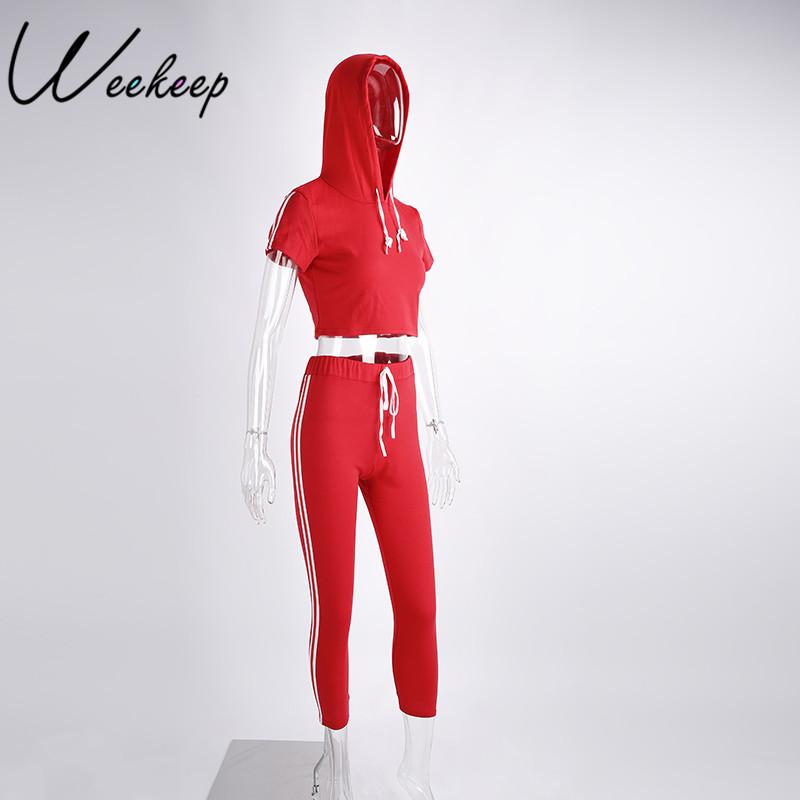 HTB1ywVGRpXXXXX2XVXXq6xXFXXXL - Women Brand Two Piece Set Side Striped Crop Top And Leggings Red Fitness Set JKP041