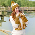 1 Conjunto Mulheres Chapéu De Pele de Malha de Lã de Crochê Beanie Cap Quente + Cachecol + Luvas Xale Terno