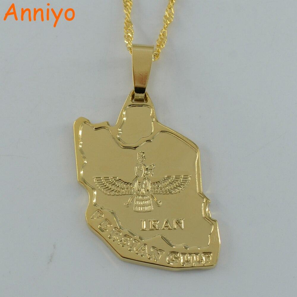Anniyo Iran Map Pendant for Women Gold Color Jewelry Iranians