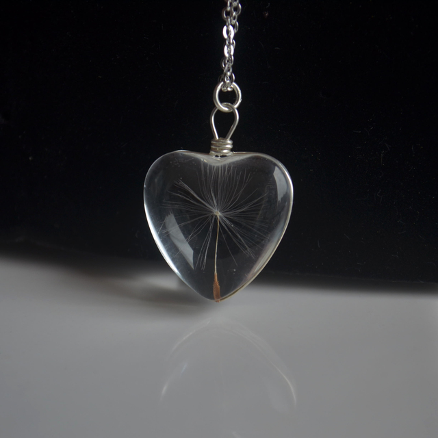 Dandelion Wish Real Flower Heart Love Glass Pendant 925 Sterling Silver Chain Necklace Women Choker Boho Fashion Jewelry