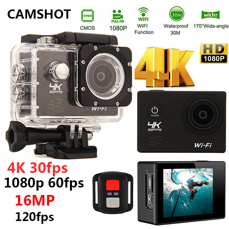 CAMSHOT Sport Action Camera 4K WIFI 2.0LCD 1080P 60fps Outdoor underwater waterproof diving Surfing cycling helmet Cam Cameras gitup git1 1 5 inch lcd wifi rf control action camera