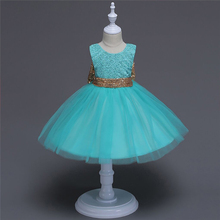 Bow Baby Girls Dress 2018 Cute Children Costumes Sequined Kids Wedding Party Dresses For Girls Princess Dress