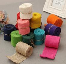 2pcs 2m Rural Linen Ribbon Xmas Wedding Decorative Accessories Natural Jute Burlap Roll Table Runner Tablecloth DIY Craft Props