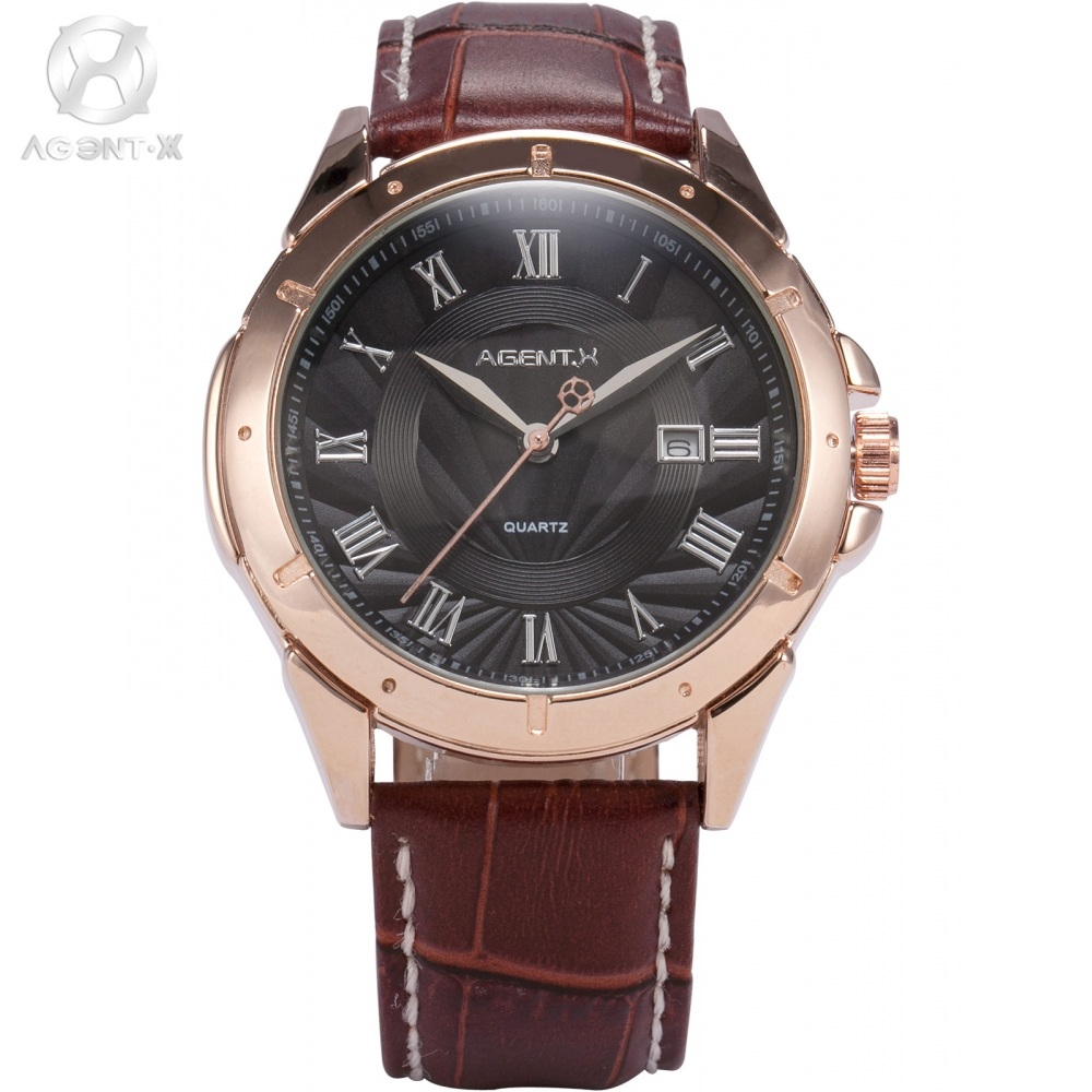 AGENTX Roman Numerals Day Display Rose Gold Stainless Steel Case Brown Leather Strap Watch Men Business Quartz Watch / AGX040 rushed real new with tags 2pcs set 2016 fashion business stainless steel roman numerals quartz leather band lovers watch