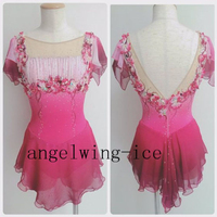 New Ice Figure Skating Dress for Women Figure Skating Dress Pink Spandex Performance Skating Wear Customization For Competition