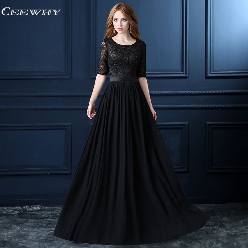 CEEWHY Half Sleeve Long Chiffon   Evening     Dresses   Plus Size Lace Formal   Dress   Black Prom Party Gowns Robe de Soiree Abendkleider
