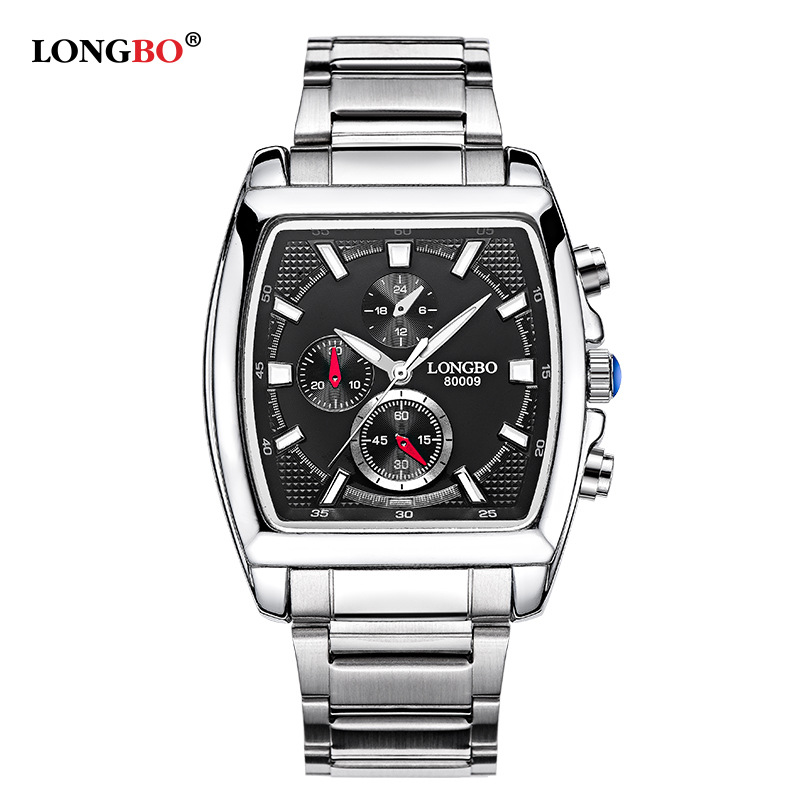 Hot Longbo Brand Quartz Military Sports Square Watches Men Stainless Steel Strap Watches Casual Wristwatch Full Steel Men Watch longbo men military watches complex big dial leather strap wristwatch male outdoor sports quartz watch life waterproof uhren men