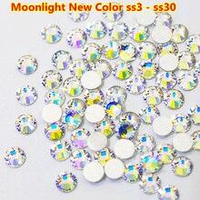 New Hot 2028 SS3-SS30 Crystal Moonlight Glass Strass Non Hotfix Rhinestone Fix Glitter nail cristal swarovsky
