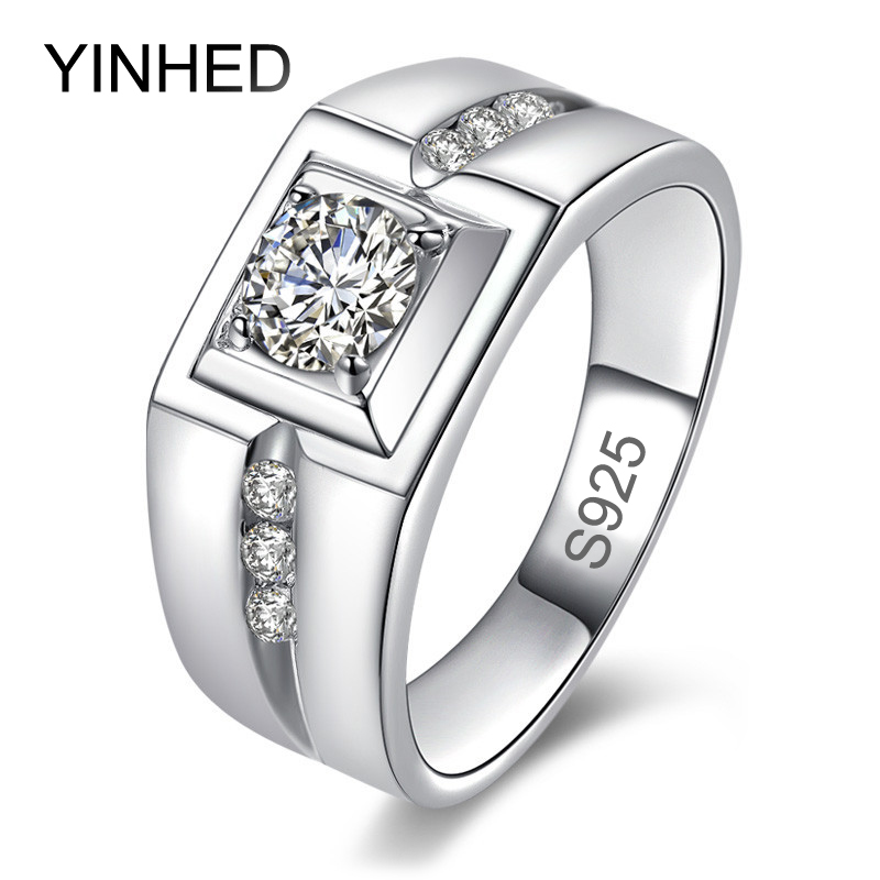 Yinhed Luxury Fashion Man Wedding Ring 100 925 Sterling Silver 1 Carat Cz Diamant Engagement Rings For Men Jewelry Zr171 In From