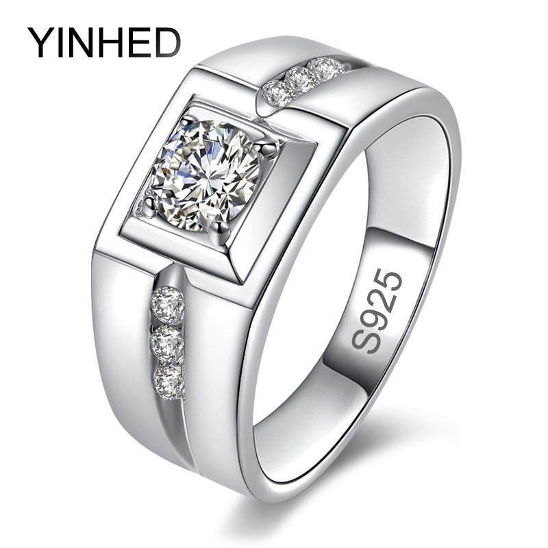 YINHED font b Luxury b font Fashion Man font b Wedding b font Ring 100 925