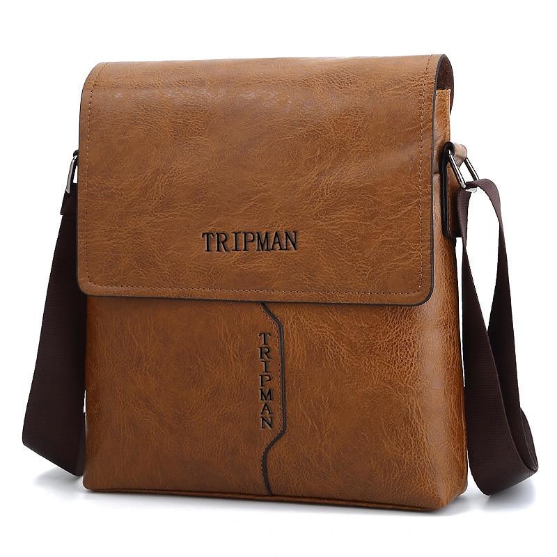 Tripman Мужская мода курьерские сумки Портфели PU повседневное бизнес на плечо Чехол молнии карман с клапаном для мужчин Crossbody KSL516M-T