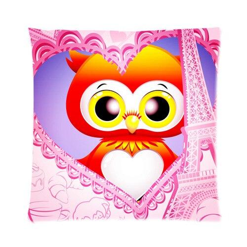 Paris Eiffel Tower Pillow 16 X 16: Vogue Designed Cute Cartoon Owl With Eiffel Tower Pillow