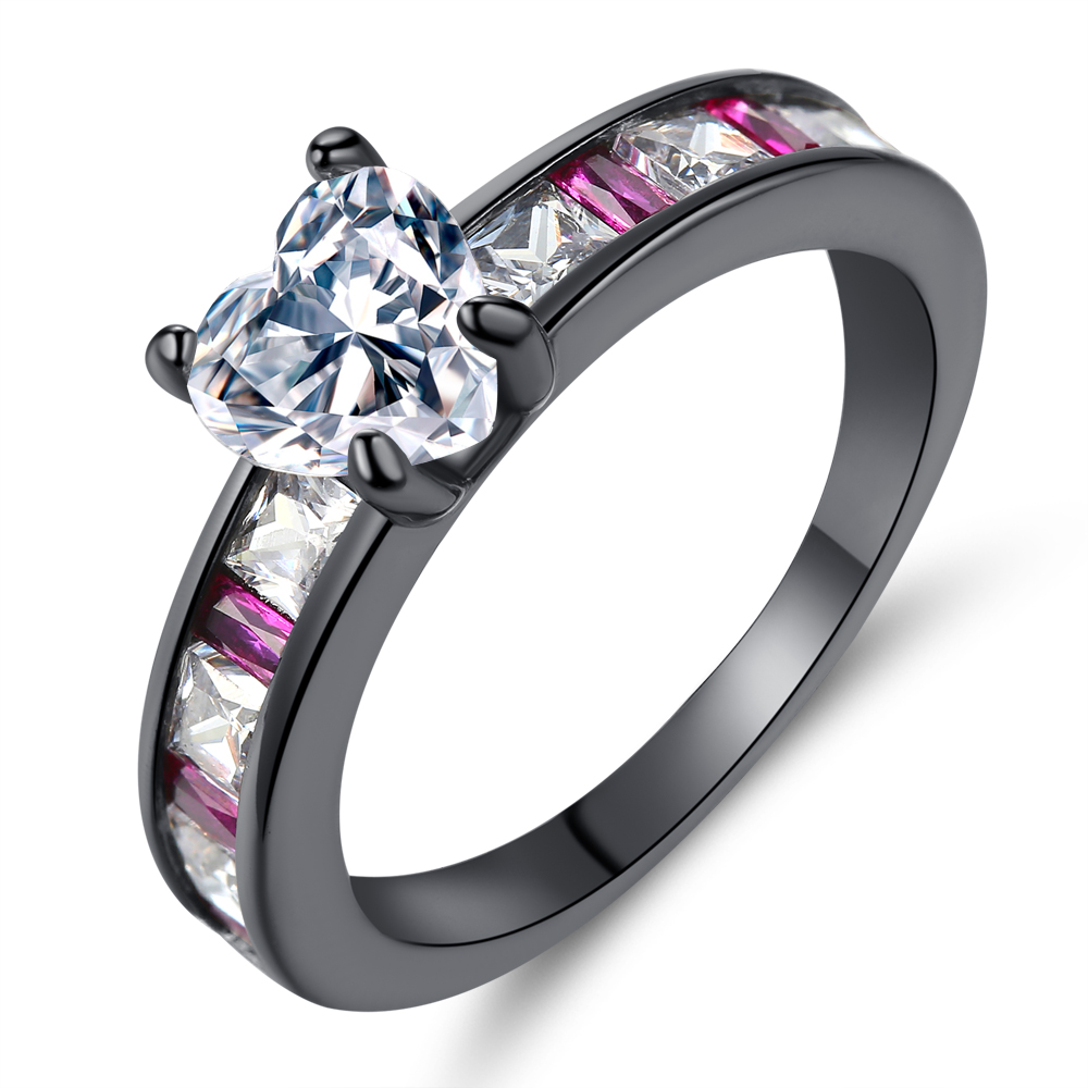 Cinily Jewelry Ring-Size Purple-Stone Wedding-Gift Gold-Color Black White Fashion Women